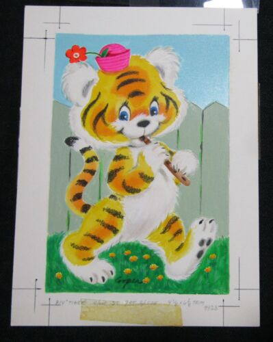 """HAPPY BIRTHDAY Cute Painted Tiger Playing Flute 6x8"""" Greeting Card Art #223"""
