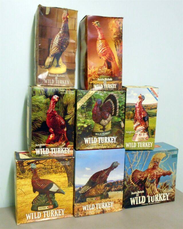 WILD TURKEY ORIGINAL SET OF (8) IN THE ORIGINAL BOXES FIRST SERIES 1971-1979