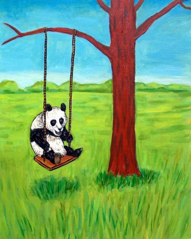 PANDA BEar in a tree swing 13x19  glossy print artwork