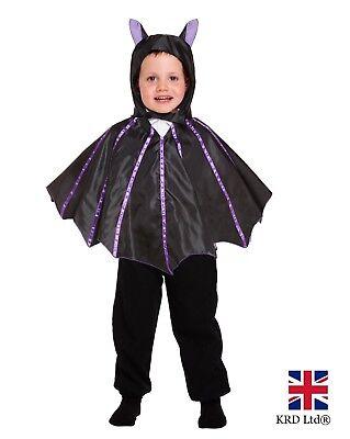 Kids Black Vampire BAT WINGS CAPE Girls Boys Halloween Fancy Dress Costume 3Y UK ()
