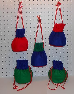 GIFT BAGS WITH DRAWSTRING - RED/GREEN/BLUE - FELT - SET OF 5