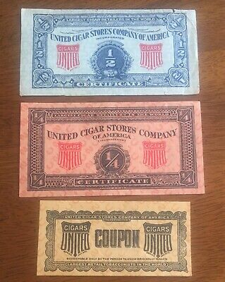 Lot 3 UNITED CIGAR STORES COMPANY OF AMERICA Certificates / Coupons](Party Store Coupons)