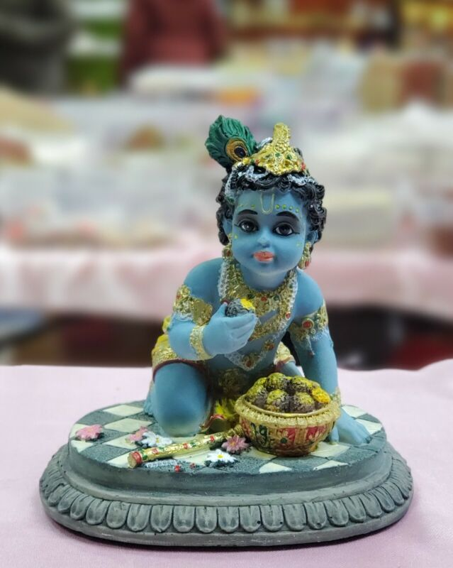 Baby Krishna Ladoo Gopal Statue In Resin 4 Inches return gift  USA Seller