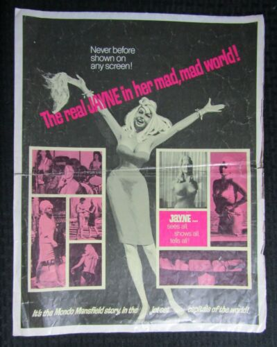 "1968 WILD WORLD OF JAYNE MANSFIELD 14x18"" Pressbook GD+ 2.5 6pg Fold-Out"