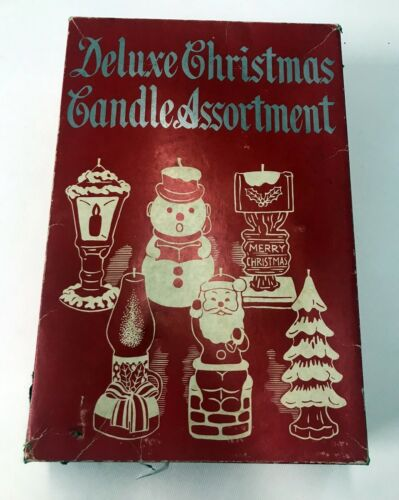 Vintage 1950s Christmas Deluxe Candle Assortment Box of Five Made in Japan