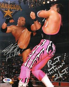Bret-Hart-Bill-Goldberg-Signed-WWE-WCW-8x10-Photo-PSA-DNA-COA-Starrcade-1999