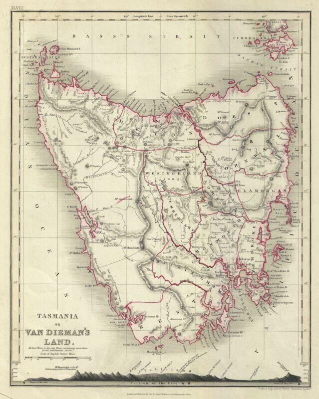 1860 Dower Map of Tasmania or Van Diemen