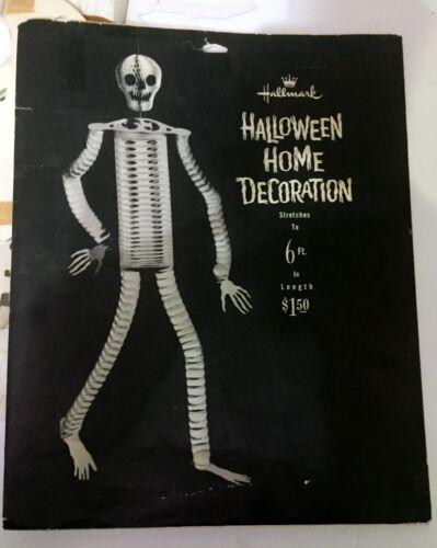HALLMARK VINTAGE SKELETON HALLOWEEN HANGING ACCORDION SKELETON 1960