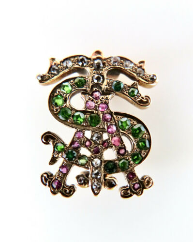 Victorian Edwardian 14K Monogram Pin Brooch AST Diamond Demantoid Garnet Ruby
