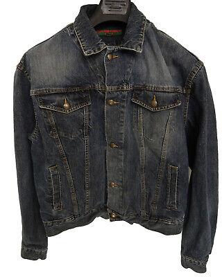 KATHARINE HAMNETT Vintage Light Black Faded Denim Trucker Jacket (LARGE)