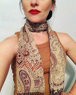 Vintage Scarf Styles -1920s to 1960s Vintage Silk Scarf Paisley  $18.00 AT vintagedancer.com