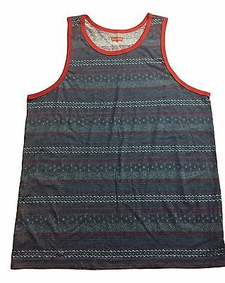 Levis Strauss Size S M L XL 2XL Blue Red Tribal Print Ringer Tank Top NEW (Red Ringer)