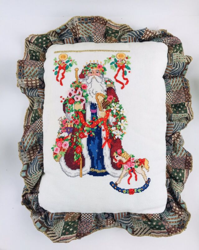 VNTG Embroider Christmas Pillow Santa Claus Handmade Ruffle Edge Rocking Horse
