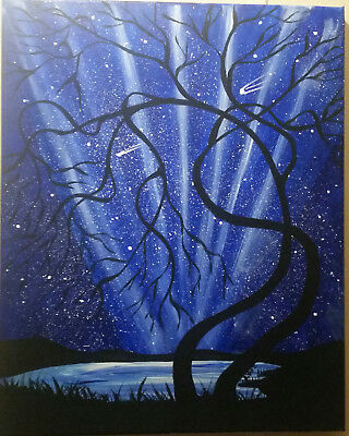 20 X 16 Acrylic Painting    Twisted Trees Night Glow  Hand Painted