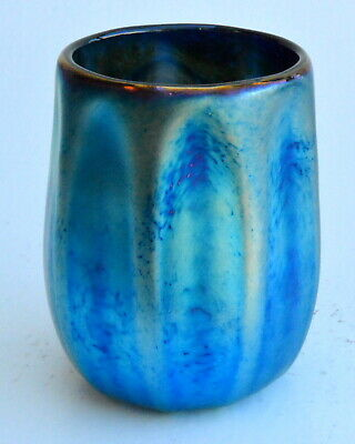 Blue Aurene Drinking Glass Rib Design. Blown Glass