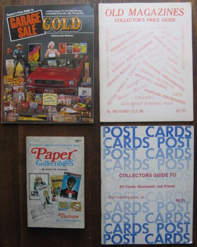 4 OLD PRICE GUIDES: Paper Collectibles, Garage Sale Gold, Post Cards, Magazines
