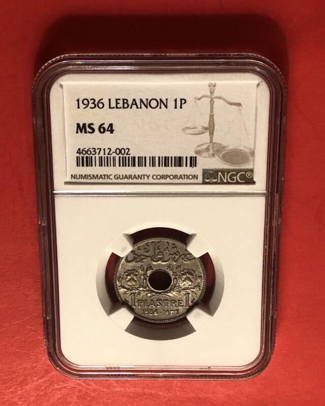 LEBANON-UNC 1 PIASTRE 1936 ,GEADED BY NGC MS64........RARE GRADE.