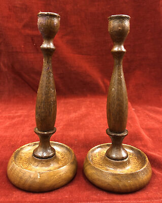 Pair of Vintage / Antique Wooden Candle Sticks