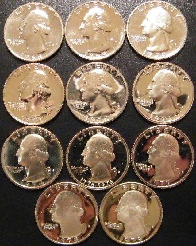 1968-1979 S Washington Quarter Gem Proof Run 11 Coin Set US Mint Lot