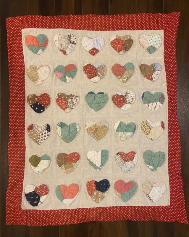 "VTG Handmade, Hand-sewn & Machine Quilt Small 31"" X 38"" apprx. Multicolor HEARTS"