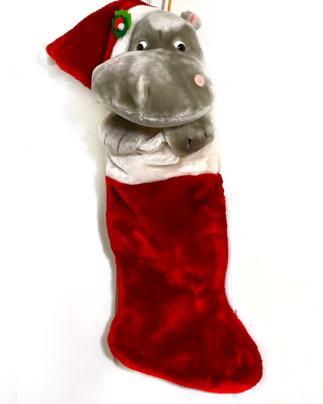 Gray HIPPO Head Christmas Stocking Vintage Plush West World Trading co Red 3D