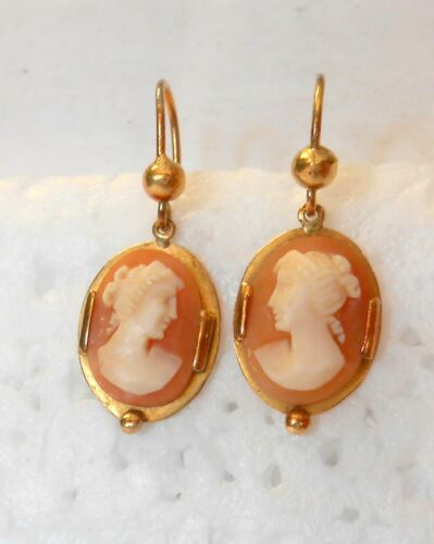 Vintage Carved Shell Cameo Female 14K Yellow Gold Dangle Earrings 25mm