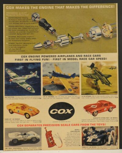 1966 Print Ad Cox Engine Powered Airplanes Race Cars Spitfire Stuka Ford GT Vett