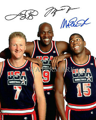 MICHAEL JORDAN LARRY BIRD MAGIC JOHNSON OLYMPIC SIGNED AUTOGRAPHED 8X10 PHOTO RP