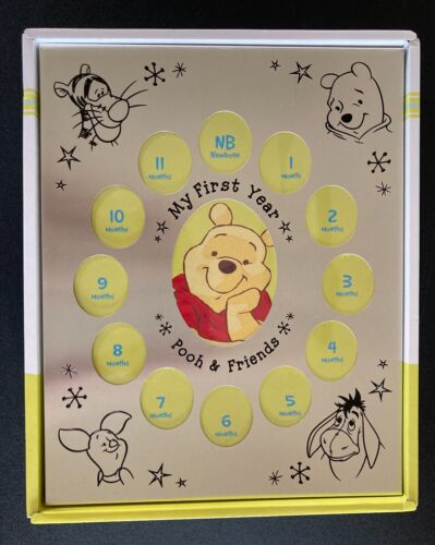 Disney Winnie the Pooh Baby First Year Photo Picture Frame Silver Tone Metal New