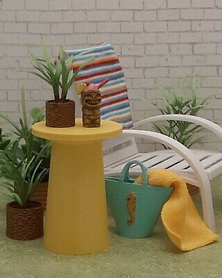 for BARBIE yellow SIDE TABLE living room FURNITURE accessory DECOR diorama 1/6