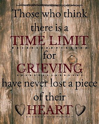 Primitive Farmhouse Weathered Bereavement Time Limit Grieving Verse Print 8x10