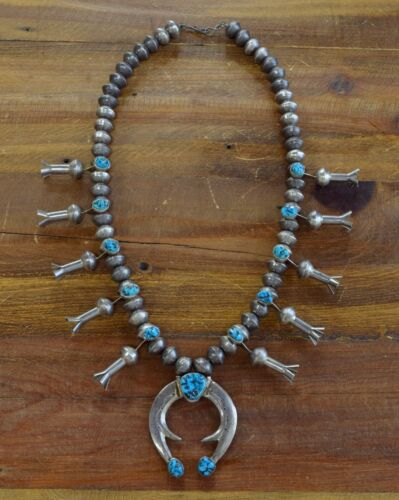 Vintage Southwest Turquoise Mercury Dime Sterling Silver Squash Blossom Necklace