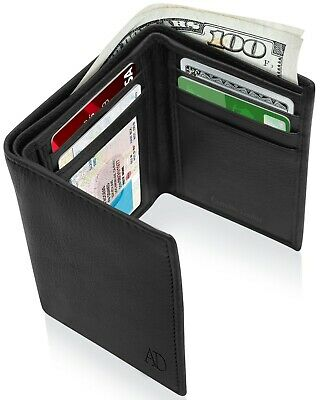 Genuine Leather Wallets For Men Trifold Mens Wallet With ID Window RFID - Trifold Wallets
