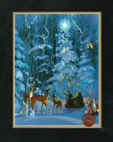 CASPARI Christmas Tree Fox Deer Owl Rabbits Snow Star Greeting Card W/ TRACKING