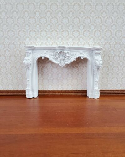 Dollhouse Miniature Fireplace White Large Ornate Resin 1:12 Scale Furniture