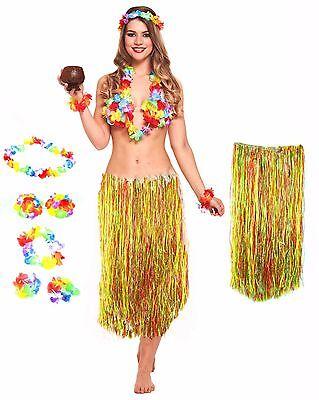 Hawaiian Tropical Beach Theme Party Girl 5pc Lei Grass Hula Luau Skirt - Luau Outfits For Women