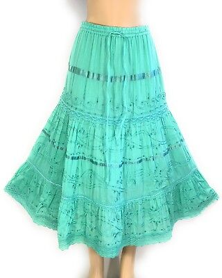 Womens Cotton Boho Lace Trim Embroidered Sequins Tiered Peasant Sweep Skirt NWT. ()