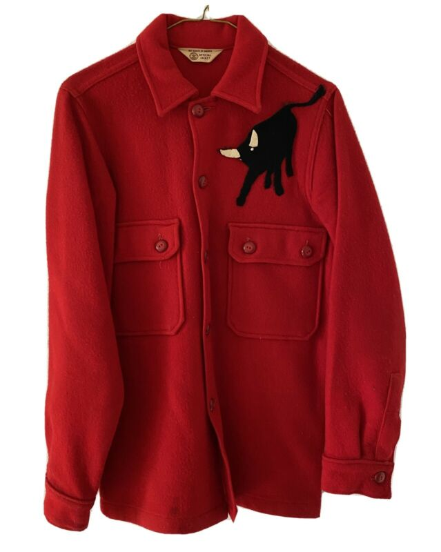 VTG 1950's Boy Scouts Official Jacket Red Wool Blend Philmont Bull Patch 1960s