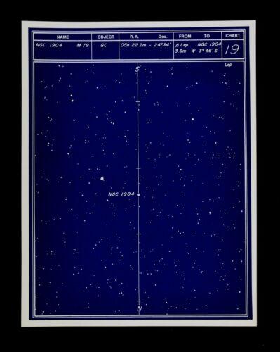 Astronomy Deep Sky Star Chart no 19 Constellation Lepus Globular Cluster Map