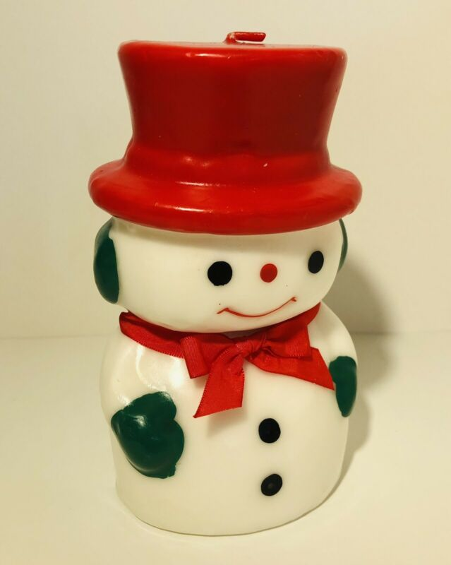 """Vintage Snowman Christmas Winter Candle Wax Figure 6"""" Tall Holiday Decoration"""