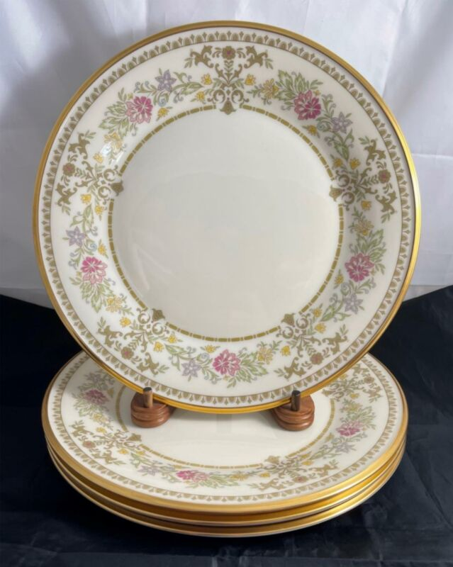 Set of 4 Lenox CASTLE GARDEN Dinner Plates Discontinued Made in USA