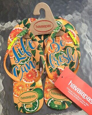 NEW Havaianas Slim Paradise Tropical Flip Flops Summer Sandals Light Orange Sz 6