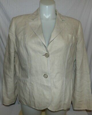 STYLE & CO Women's Beige Lined Linen Jacket Blazer Size 16W