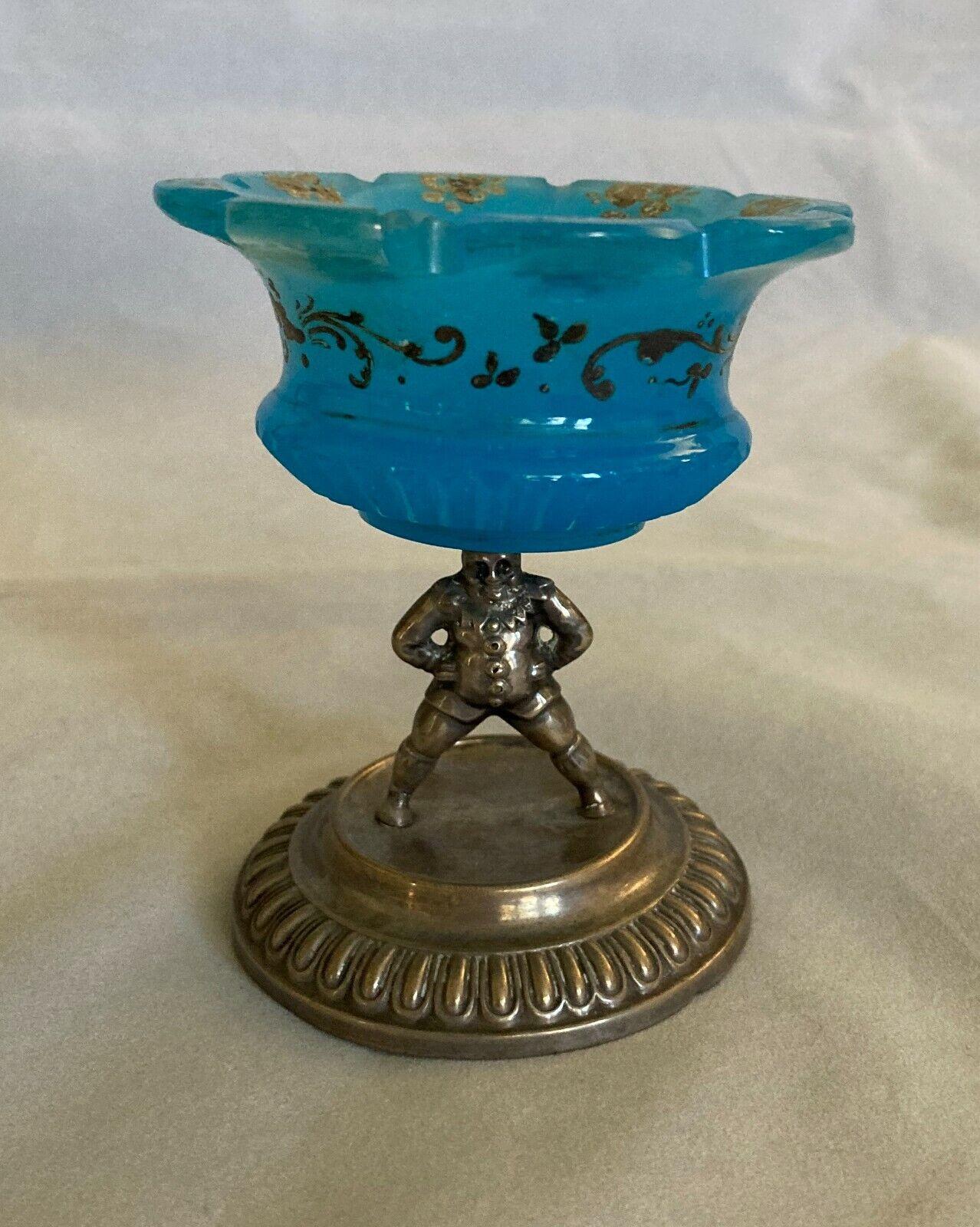 Antique Blue Opaline Glass Trinket Dish Figural Metal Pedestal AS IS 3 1/4  - $19.99