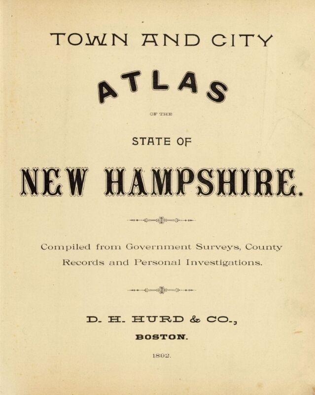 1892 NEW HAMPSHIRE STATE ATLAS map old GENEALOGY GHOST TOWN TREASURE DVD S14