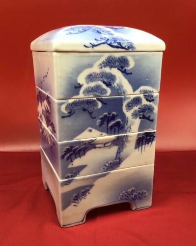 Antique Japanese porcelain Jubako stacking square 5 piece landscape blue & white