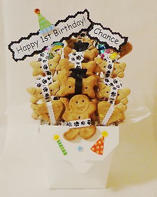 Dog birthday gift basket, dog treats, dog biscuits, personalized dog gift
