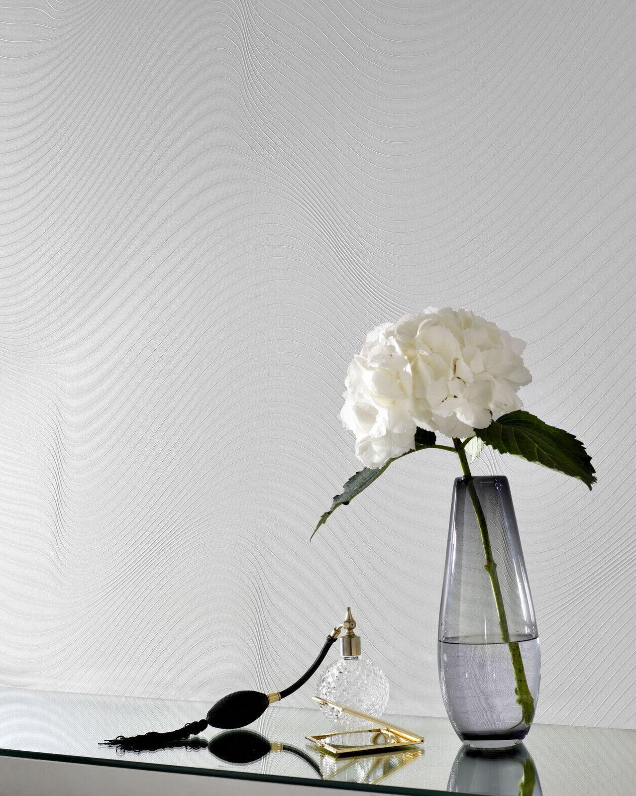 RASCH ELEGANC WHITE IVORY RIPPLE WAVE QUALITY HEAVYWEIGHT VINYL WALLPAPER 782103