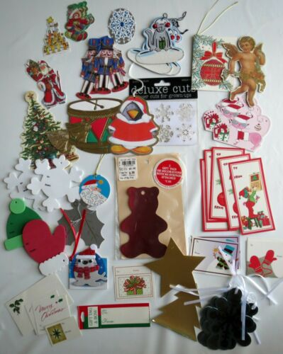 Lot 60 Christmas Gift Stickers Gift Tag Holiday Die Cuts Colorful Foam
