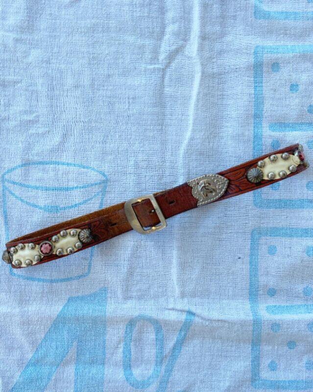 Vintage 1950s Studded Tooled Leather Belt Western Cowboy 50s